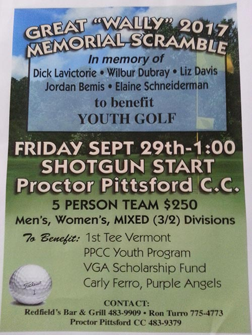 2017 Great Wally Memorial Scramble, Friday, September 29th