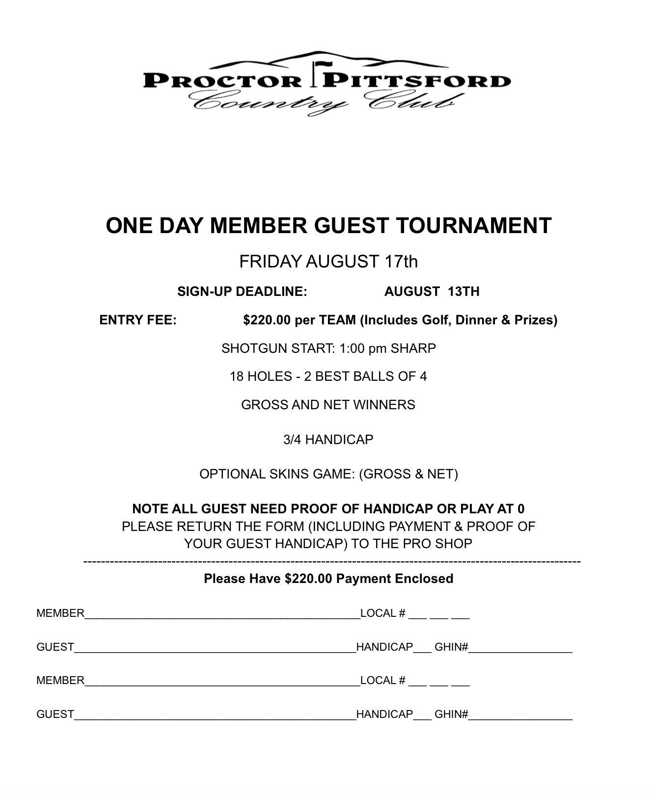 2018 Men's 1 Day Member-Guest Applications
