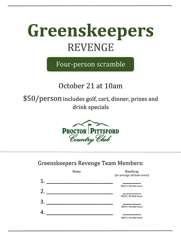 2018 Greenskeeper's Revenge, Sunday October 21st, 10am Shotgun Start