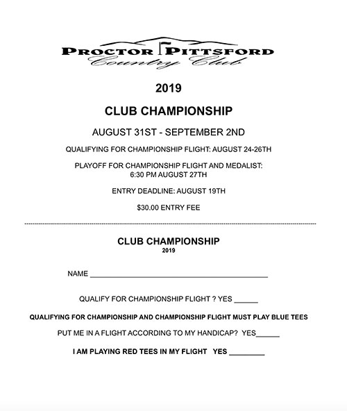 2019 Men's Club Championship - 8/31-9/2 - Applications Now Available