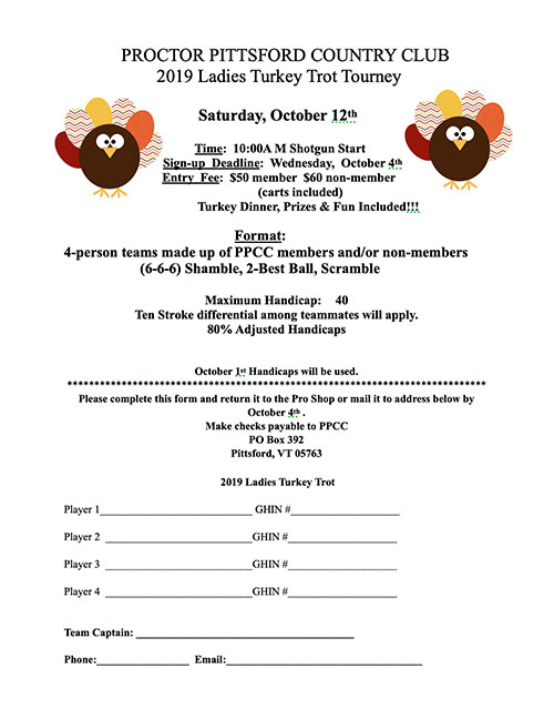 2019 Turkey Trot Application
