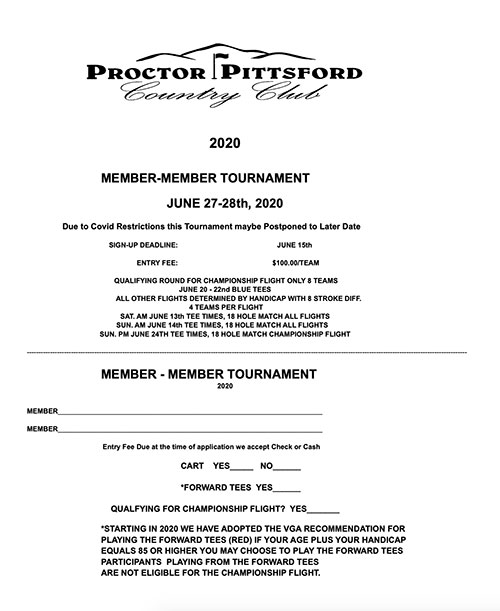 Men's 2020 Member-Member Tournament - 6/27-28/20 - Applications Now Available
