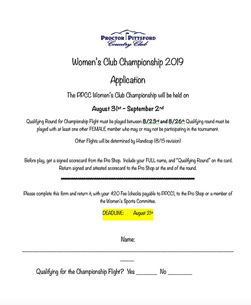 2019 Women's Club Championship - 8/31-9/2 - Applications Now Available